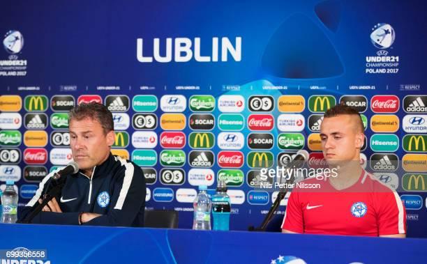 Pavel Hapal head coach of Slovakia and Stanislav Lobotka of Slovakia during the Slovakia U21 national team MD1 press conference at Arena Lublin on...