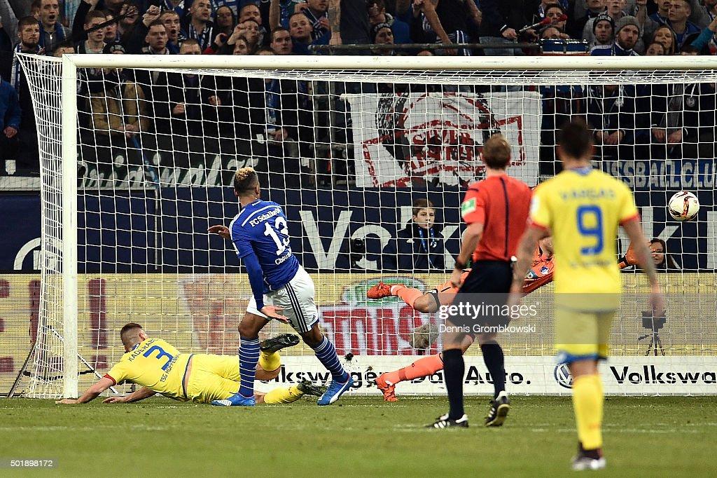 Pavel Kaderabek of 1899 Hoffenheim scores an own goal to open the scoring during the Bundesliga match between FC Schalke 04 and 1899 Hoffenheim at...
