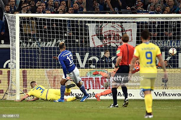 Pavel Kaderabek of 1899 Hoffenheim scores an own goal to open the scoring during the Bundesliga match between FC Schalke 04 and 1899 Hoffenheim at...