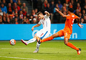 Pavel Kaderabek of the Czech Republic beats Jairo Riedewald of the Netherlands to score their first goal during the UEFA EURO 2016 qualifying Group A...