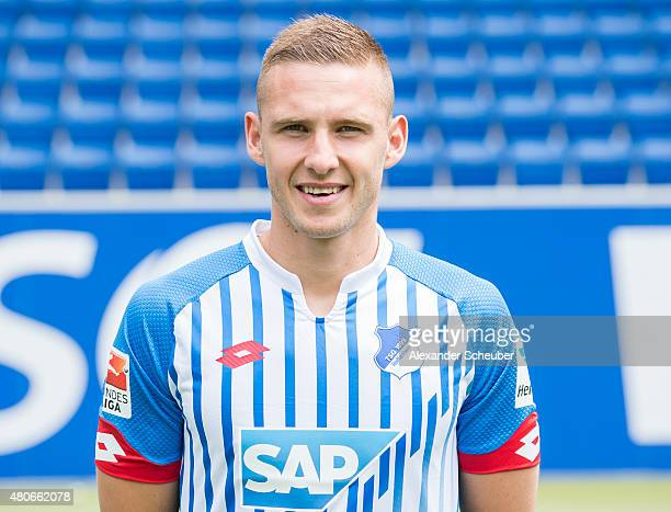 Pavel Kaderabek poses during the team presentation of 1899 Hoffenheim at Wirsol RheinNeckarArena on July 14 2015 in Sinsheim Germany