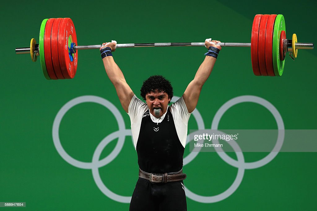 Pavel Khadasevich of Belarus during the Weightlifting Men's 85kg on Day 7 of the Rio 2016 Olympic Games at Riocentro Pavilion 2 on August 12 2016 in...