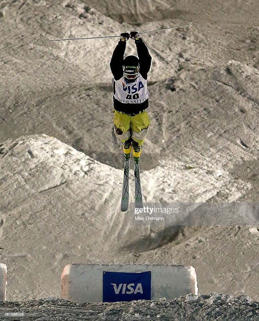 Pavel Kolmakov of Kazakhstan competes during finals for the Mens 2014 FIS Freestyle Ski World Cup Mogul Competition at Deer Valley on January 11, 2014 in Park City, Utah.