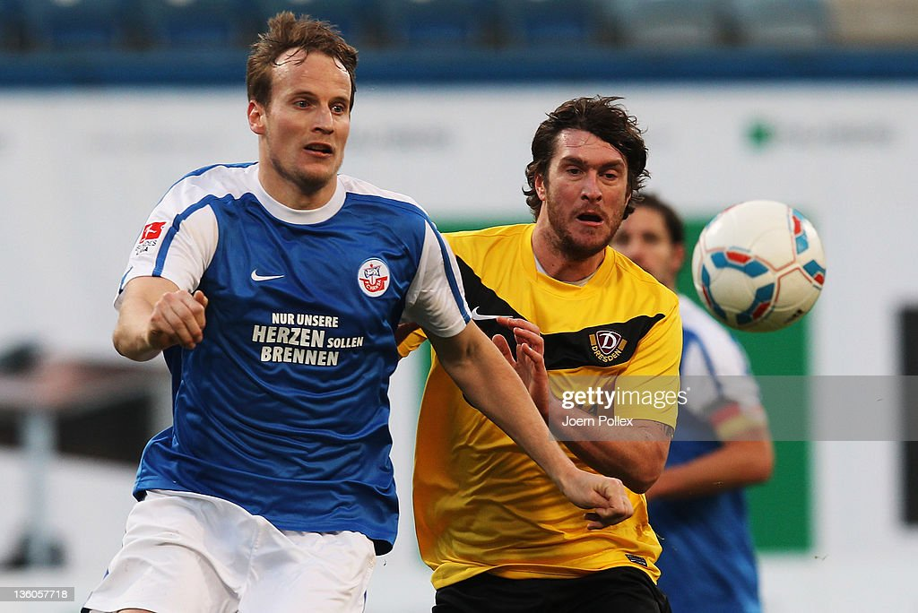 Pavel Kostal of Rostock and Pavel Fort of Dresden battle for the ball during the Second Bundesliga match between FC Hansa Rostock and SG Dynamo...