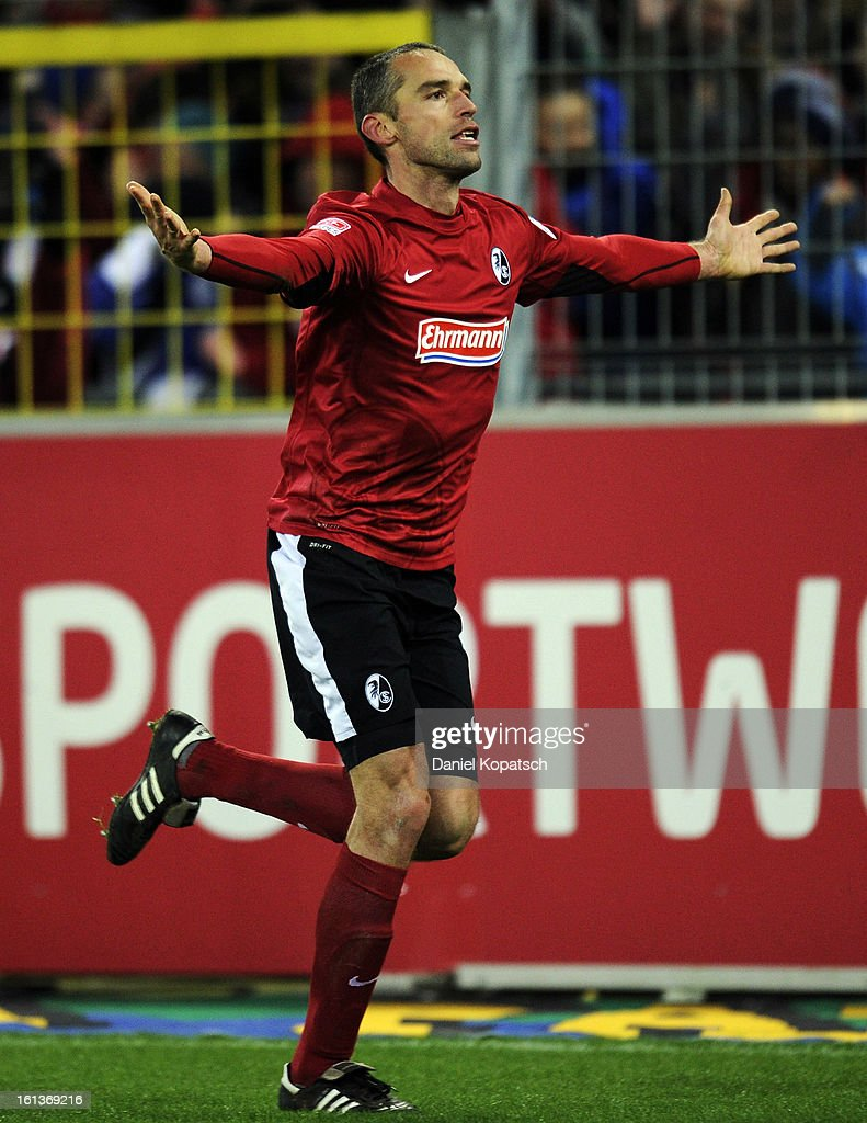 Pavel Krmas of Freiburg celebrates his team's first goal during the Bundesliga match between SC Freiburg and Fortuna Duesseldorf 1895 at MAGE SOLAR Stadium on February 10, 2013 in Freiburg im Breisgau, Germany.
