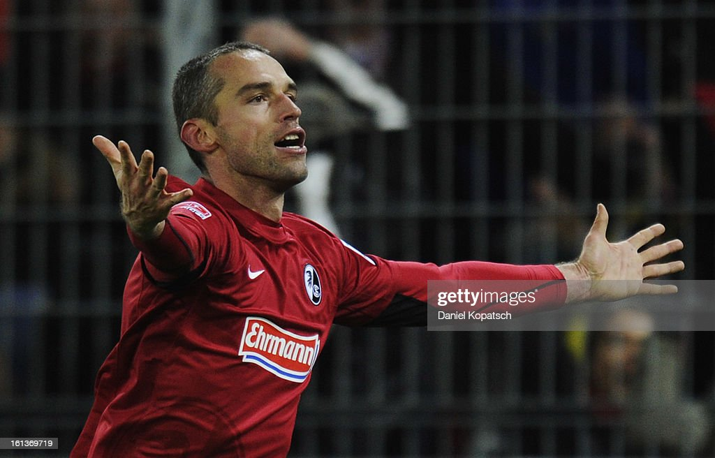 <a gi-track='captionPersonalityLinkClicked' href=/galleries/search?phrase=Pavel+Krmas&family=editorial&specificpeople=2220668 ng-click='$event.stopPropagation()'>Pavel Krmas</a> of Freiburg celebrates his team's first goal during the Bundesliga match between SC Freiburg and Fortuna Duesseldorf 1895 at MAGE SOLAR Stadium on February 10, 2013 in Freiburg im Breisgau, Germany.