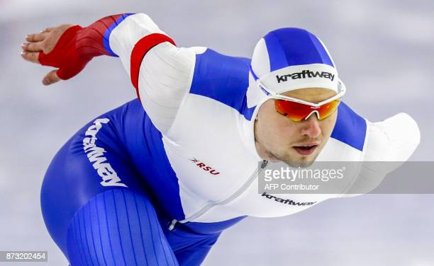 Pavel Kulizhnikov of Russia competes during the men's 1000 meter race of the ISU Speed Skating World Cup in Thialf Ice Arena in Heerenveen on...