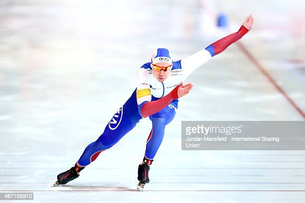 Pavel Kulizhnikov of Russia competes in the Men's 1st 500m Division A on Day 1 of the ISU World Cup Speed Skating Final at the Gunda...