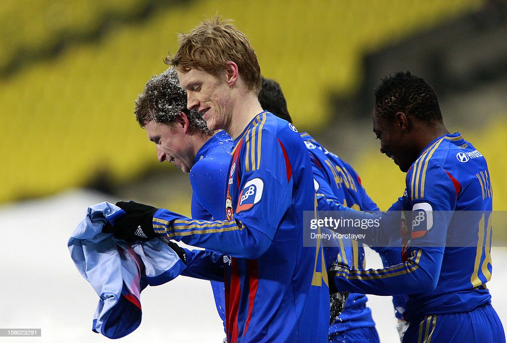 Pavel Mamayev, Rasmus Elm and Ahmed Musa of PFC CSKA Moscow celebrate after scoring a goal during the Russian Premier League match between PFC CSKA Moscow and FC Mordovia Saransk at the Luzhniki Stadium on December 09, 2012 in Moscow, Russia.