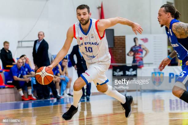 Pavel Marinov and Deven Mitchell during the LNBM Men's National Basketball League game between CSM Steaua Bucharest and BC Mures TarguMures at Sala...