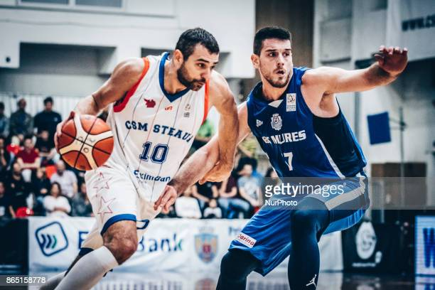 Pavel Marinov and Milvoje Mijovic during the LNBM Men's National Basketball League game between CSM Steaua Bucharest and BC Mures TarguMures at Sala...