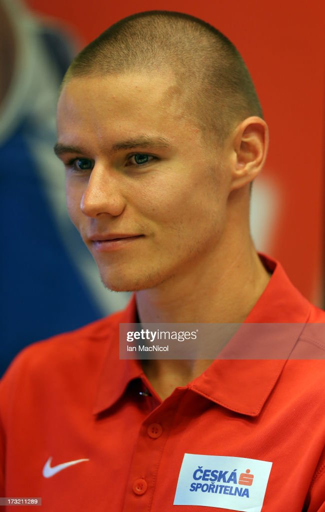 Pavel Maslak of Czech looks Republik looks on during the press conference prior to The European Athletics U23 Championships 2013 fly in The Market Square on July 10, 2013 in Tampere, Finland.