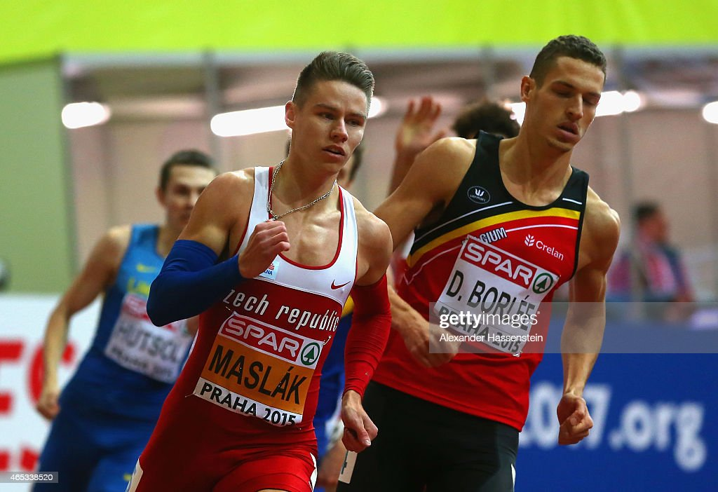 Pavel Maslak of Czech Republic and Dylan Borlee of Belgium compete in the Men's 400 metres rounds during day one of the 2015 European Athletics Indoor Championships at O2 Arena on March 6, 2015 in Prague, Czech Republic.