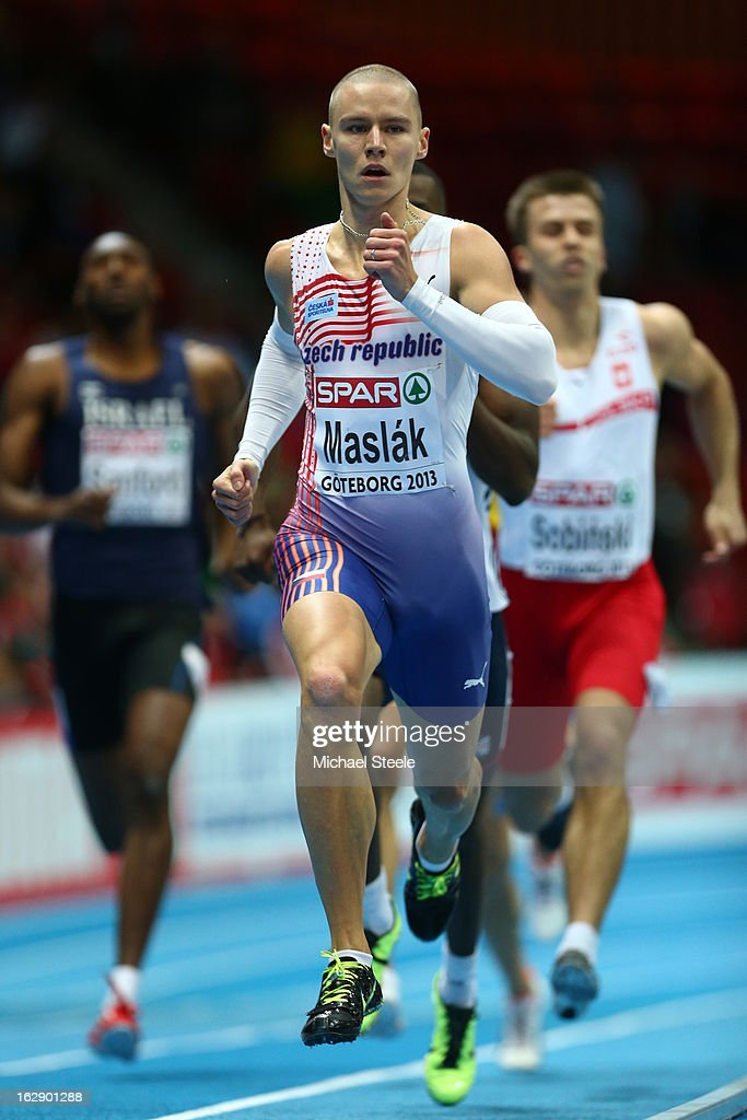 Pavel Maslak of Czech Republic competes in the Men's 400m heats during day one of the European Athletics Indoor Championships at Scandinavium on March 1, 2013 in Gothenburg, Sweden.
