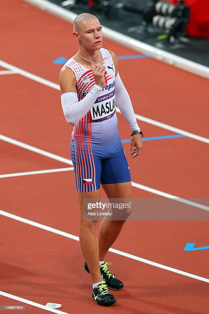 Pavel Maslak of Czech Republic competes in the Men's 400m Semi Fina on Day 9 of the London 2012 Olympic Games at the Olympic Stadium on August 5, 2012 in London, England.