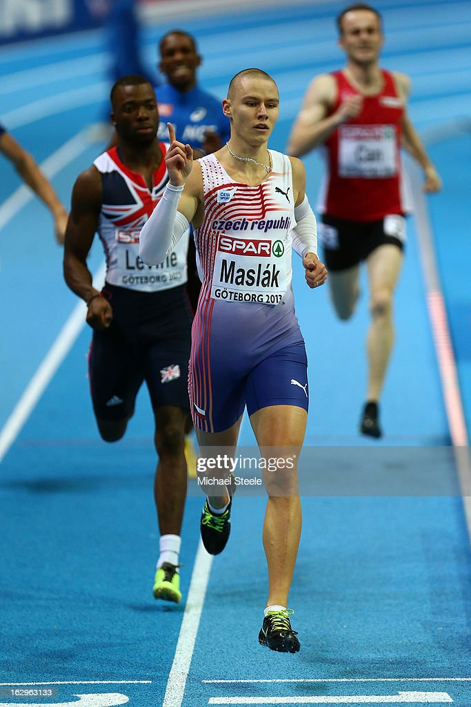 Pavel Maslak of Czech Republic competes in the Men's 400m Semi Final during day two of the European Athletics Indoor Championships at Scandinavium on March 2, 2013 in Gothenburg, Sweden.