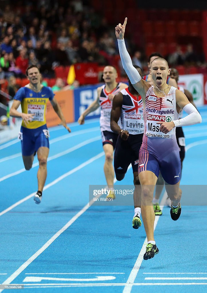 Pavel Maslak of Czech Republic crosses the line to win gold in the Men's 400m Final during day three of European Indoor Athletics at Scandinavium on March 3, 2013 in Gothenburg, Sweden.