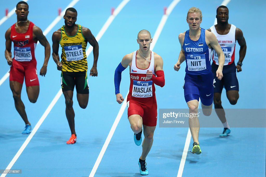 Pavel Maslak of Czech Republic leads the field in the Men's 400m Semi Final during day one of the IAAF World Indoor Championships at Ergo Arena on March 7, 2014 in Sopot, Poland.