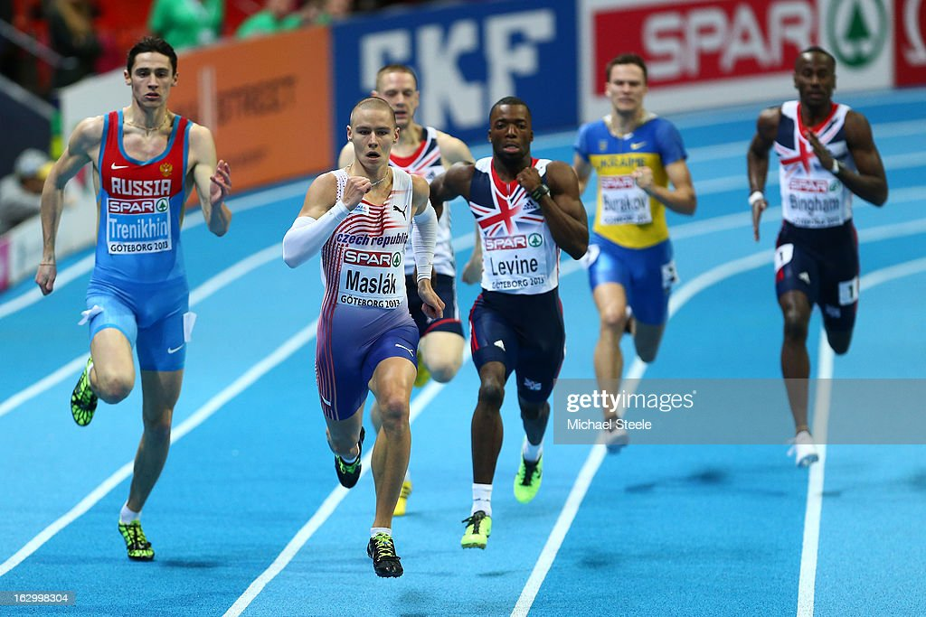 Pavel Maslak of Czech Republic leads the field to win gold in the Men's 400m Final during day three of European Indoor Athletics at Scandinavium on March 3, 2013 in Gothenburg, Sweden.