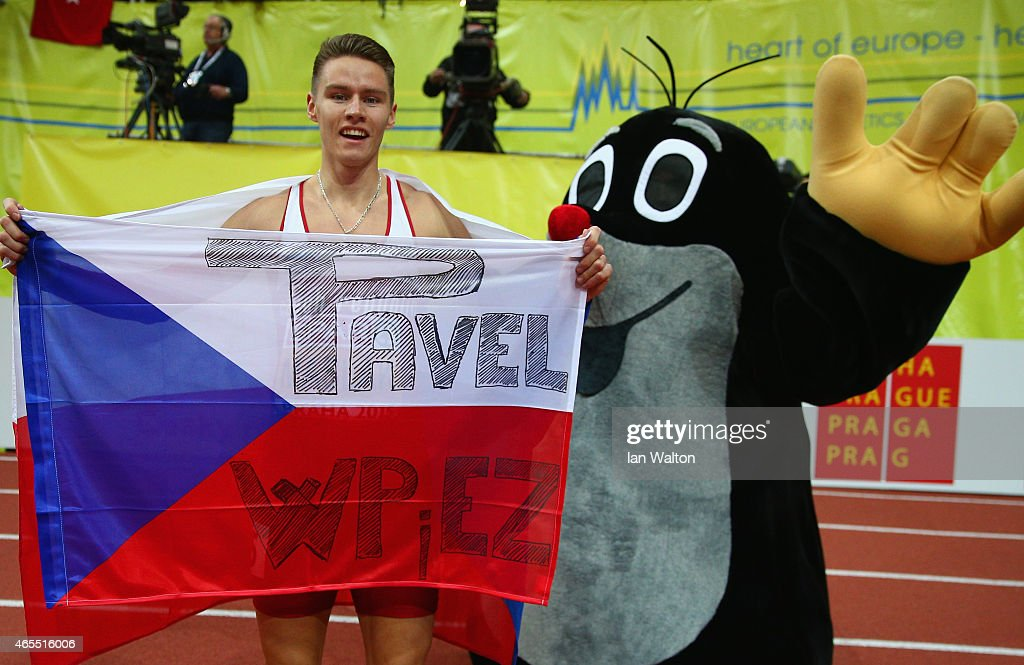 Pavel Maslak of Czech Republic wins gold in the Men's 400 metres Final during day two of the 2015 European Athletics Indoor Championships at O2 Arena on March 7, 2015 in Prague, Czech Republic.