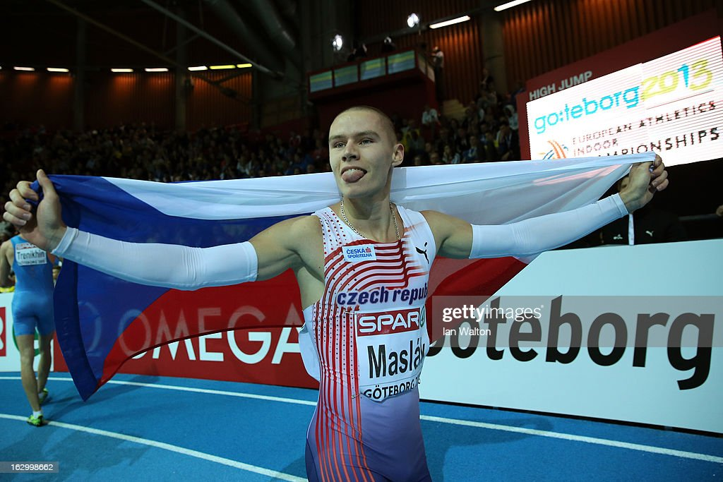 Pavel Maslak of Czech Republic wins gold in the Men's 400m Final during day three of European Indoor Athletics at Scandinavium on March 3, 2013 in Gothenburg, Sweden.