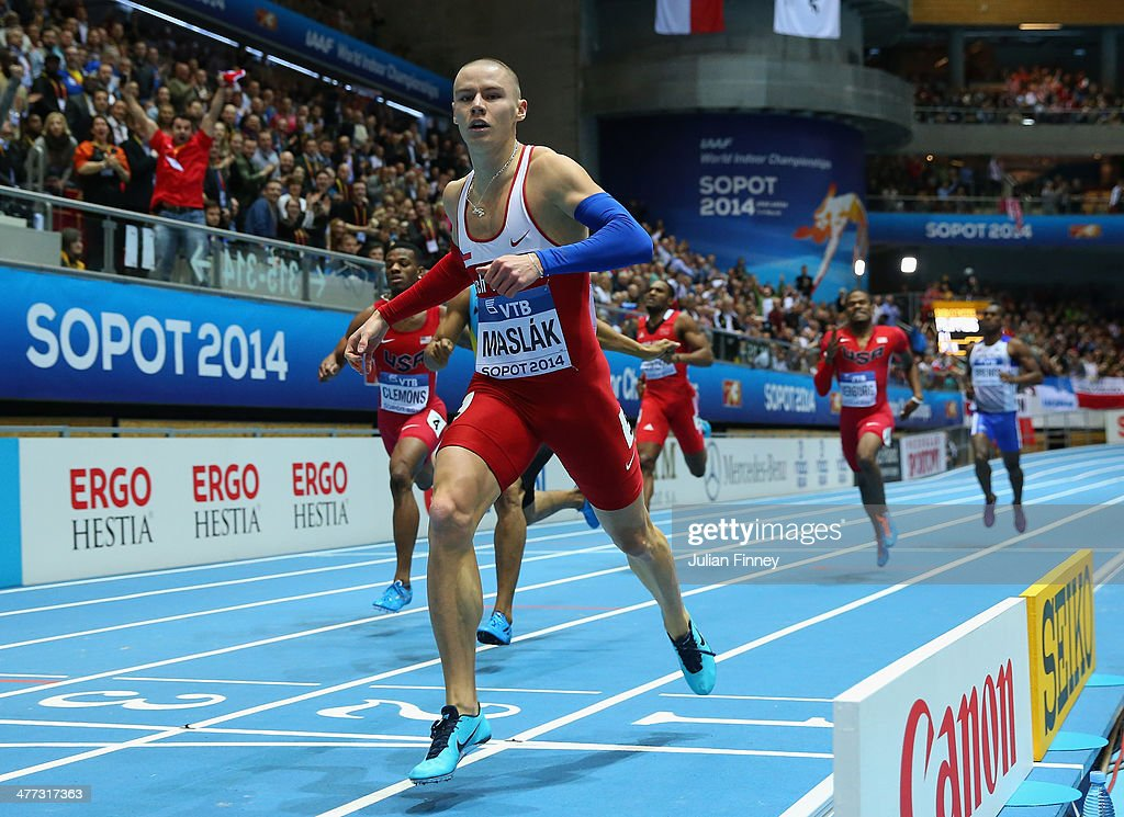 Pavel Maslak of Czech Republic wins the gold medal in the Men's 400m final during day two of the IAAF World Indoor Championships at Ergo Arena on March 8, 2014 in Sopot, Poland.