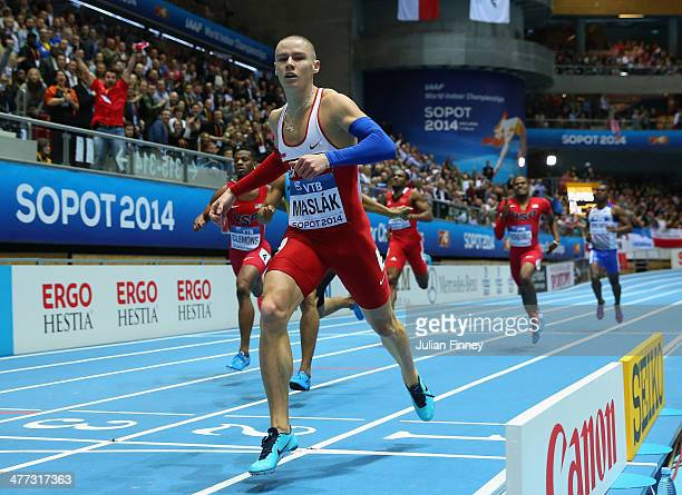 Pavel Maslak of Czech Republic wins the gold medal in the Men's 400m final during day two of the IAAF World Indoor Championships at Ergo Arena on...