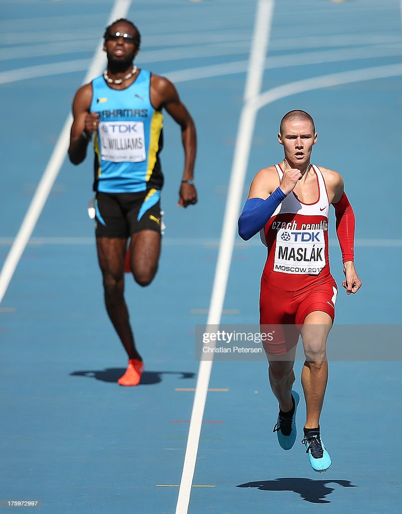 Pavel Maslak of the Czech Republic competes in the Men's 400 metres heats during Day Two of the 14th IAAF World Athletics Championships Moscow 2013 at Luzhniki Stadium on August 11, 2013 in Moscow, Russia.