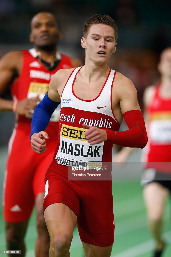 Pavel Maslak of the Czech Republic competes in the Men's 400 Metres Semi-Final during day two of the IAAF World Indoor Championships at Oregon Convention Center on March 18, 2016 in Portland, Oregon.