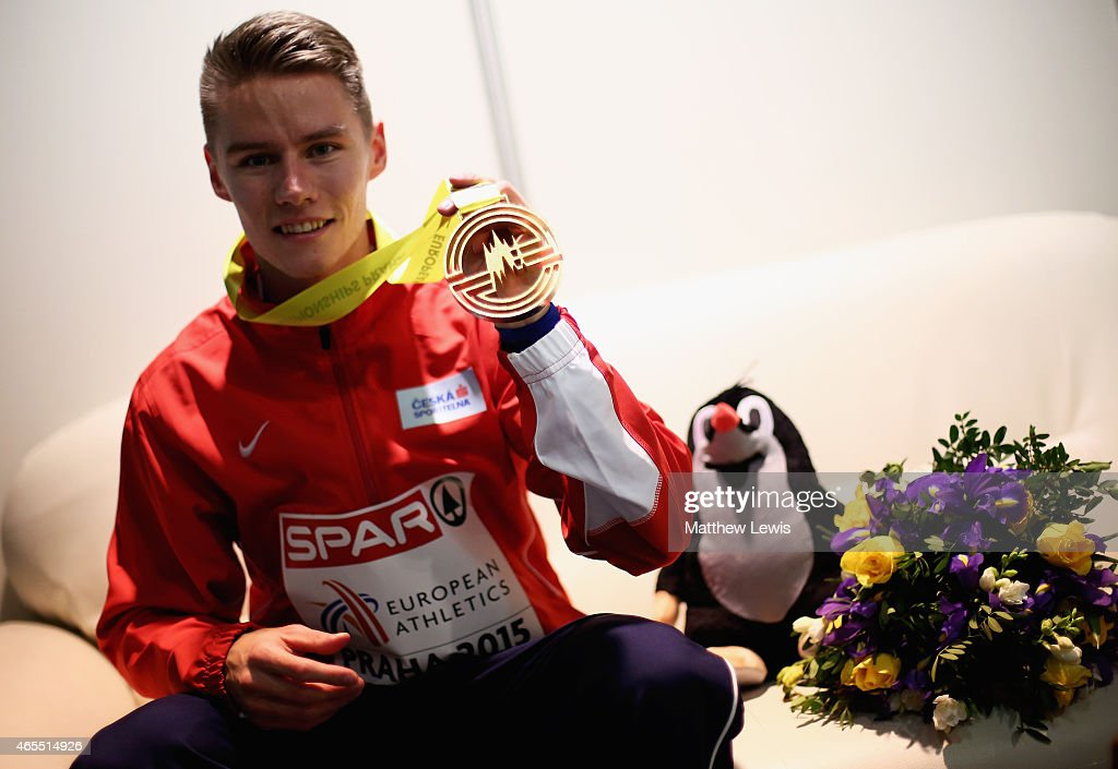 Pavel Maslak of the Czech Republic poses with his Gold medal, after winning the Mens 400m Final during day two of the 2015 European Athletics Indoor Championships at O2 Arena on March 7, 2015 in Prague, Czech Republic.
