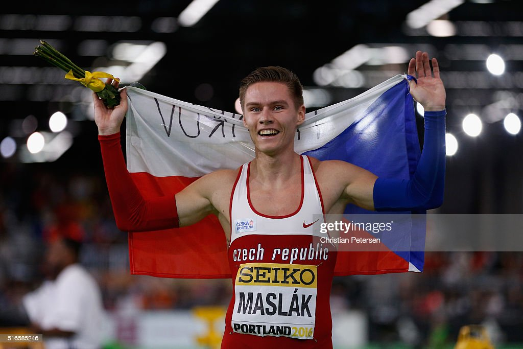 Pavel Maslak of the Czech Republic wins gold in the Men's 400 Metres Final during day three of the IAAF World Indoor Championships at Oregon Convention Center on March 19, 2016 in Portland, Oregon.