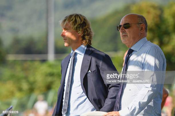 Pavel Nedved and CEO of Juventus Giuseppe Marotta look on during the preseason friendly match between Juventus A and Juventus B on August 17 2017 in...
