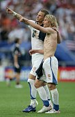 Pavel Nedved and David Rozehnal of Czech Republic point to their support after winning their match during the FIFA World Cup Germany 2006 Group E...