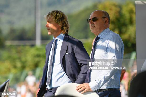 Pavel Nedved and Giuseppe Marotta during the preseason friendly match between Juventus A and Juventus B on August 17 2017 in Villar Perosa Italy