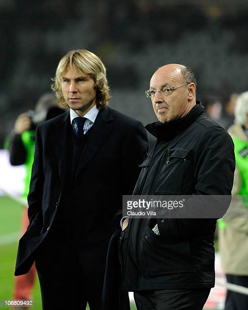 Pavel Nedved and Giuseppe Marotta of Juventus FC during the Serie A match between Juventus and Roma at Olimpico Stadium on November 13 2010 in Turin...