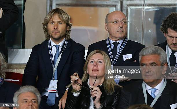Pavel Nedved and Juventus General Director Giuseppe Marotta attend the UEFA Champions League Quarter Final second leg match between AS Monaco FC and...