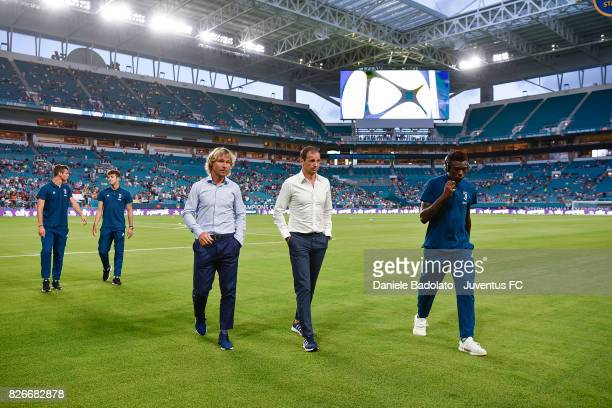 Pavel Nedved and Massimiliano Allegri of Juventus in action before the International Champions Cup 2017 match between Paris Saint Germain and...