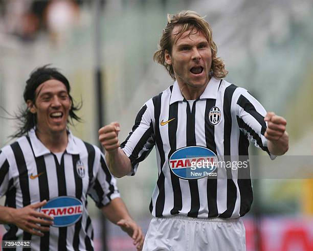 Pavel Nedved celebrates his teams goal during the match between Juventus and Genoa on April 21 2007 in Turin Italy
