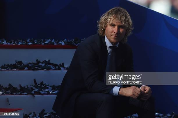 Pavel Nedved former player and vice President of Juventus Football Club is pictured at the end of the Italian Serie A football match Juventus vs...