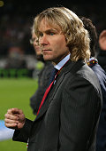 Pavel Nedved member of the board at Juventus looks on during the UEFA Europa League quarter final match between Olympique Lyonnais OL and Juventus...