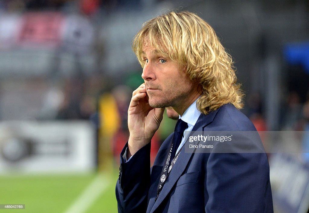 <a gi-track='captionPersonalityLinkClicked' href=/galleries/search?phrase=Pavel+Nedved&family=editorial&specificpeople=211256 ng-click='$event.stopPropagation()'>Pavel Nedved</a>, member of the board of Juventus looks on during the Serie A match between Udinese Calcio and Juventus at Stadio Friuli on April 14, 2014 in Udine, Italy.
