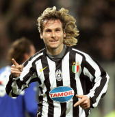 Pavel Nedved of Juve celebrates his goal during the Serie A game between Sampdoria and Juventus at the Luigi Ferraris stadium on March 4 2006 in...