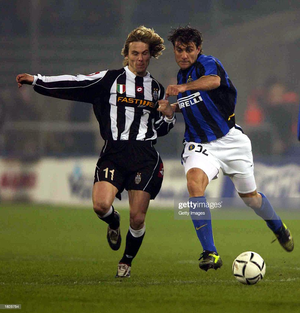 Pavel Nedved of Juventus and Christian Vieri of Inter Milan in
