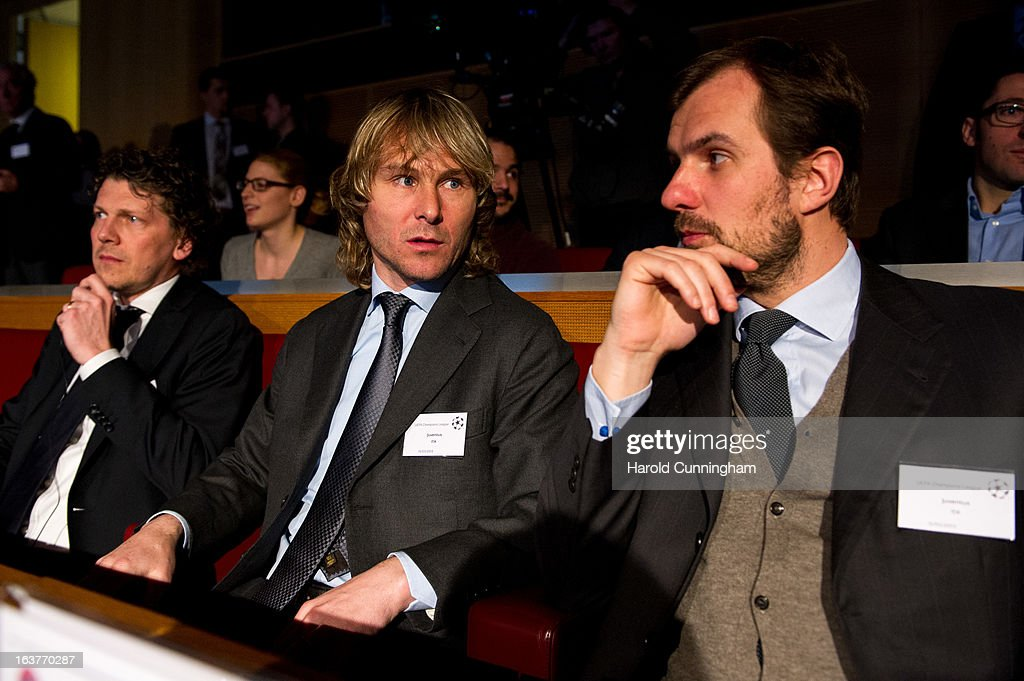Pavel Nedved of Juventus (C) and Francesco Calvo, Juventus Commercial and Marketing Director (R), look on during the UEFA Champions League quarter finals draw at the UEFA headquarters on March 15, 2013 in Nyon, Switzerland.