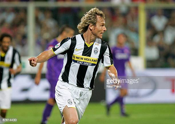 Pavel Nedved of Juventus celebrates after a goal during the Serie A match between Fiorentina and Juventus at the Stadio Franchi on August 31 2008 in...