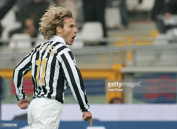 Pavel Nedved of Juventus celebrates after scoring the first goal during the Serie B match between Juventus and Pescara at the Delle Alpi Stadium on...
