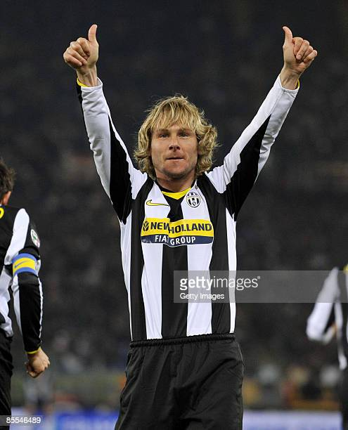 Pavel Nedved of Juventus celebrates during the Serie A match between Roma and Juventus at the Stadio Olimpico on March 21 2009 in Rome Italy
