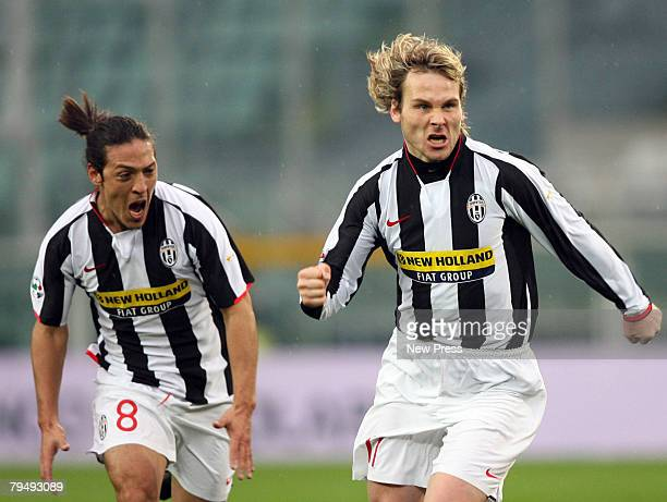 Pavel Nedved of Juventus celebrates his goal during the Serie A match between Juventus and Cagliari at the Stadio Olimpico on February 03 2008 in...