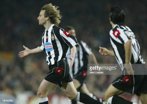 Pavel Nedved of Juventus celebrates his goal during the UEFA Champions League QuarterFinal second leg match between Barcelona and Juventus at the Nou...