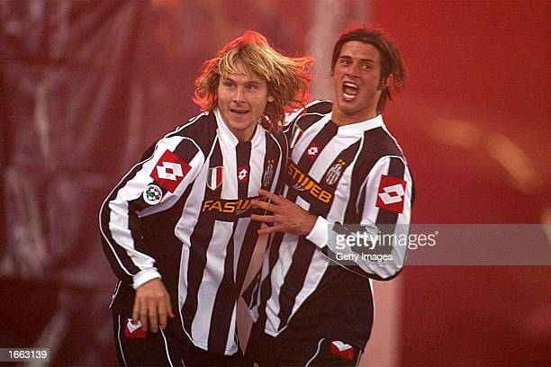 Pavel Nedved of Juventus celebrates scoring during the Serie A match between Torino and Juventus played at the Stadio Delle Alpi Turin Italy on...